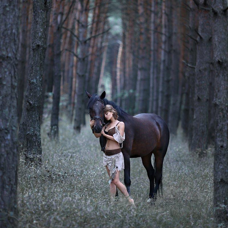 амазонка, воительница, лошадь, девушка с лошадью, сосновый лес, дикарка photo preview