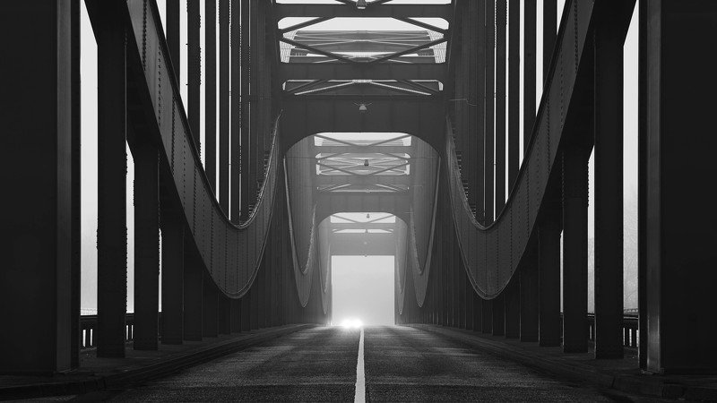 bridge, fog, mist, haze, car, lights, hamburg Elbbrückenphoto preview