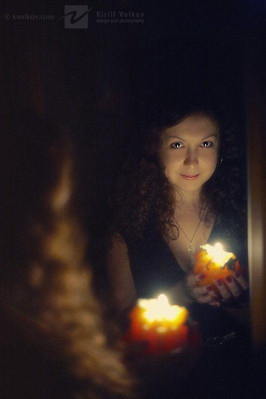 кудри, свеча, пламя, магия, зеркало кудри и немножечко магииphoto preview