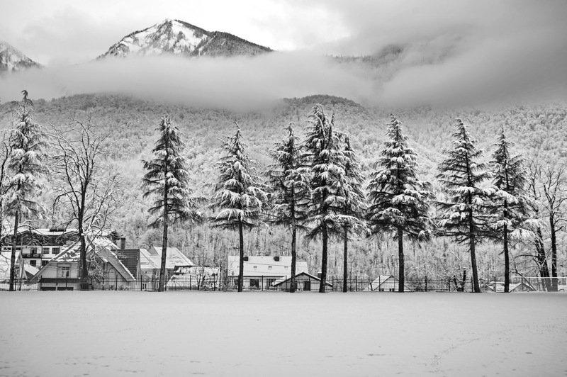 зима горы облака. Ч-Б.Зима.photo preview