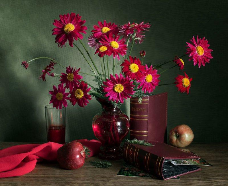 натюрморт, цветы, красные ромашки, пиретрум красный, ваза, фотоальбом, фотографии, яблоки, стакан, сок, напиток Фотоальбомыphoto preview