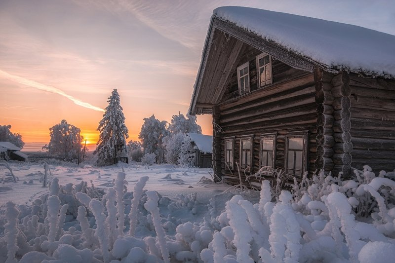 зима в деревне, деревня, зима, зимний закат, закат, village, winter photo preview