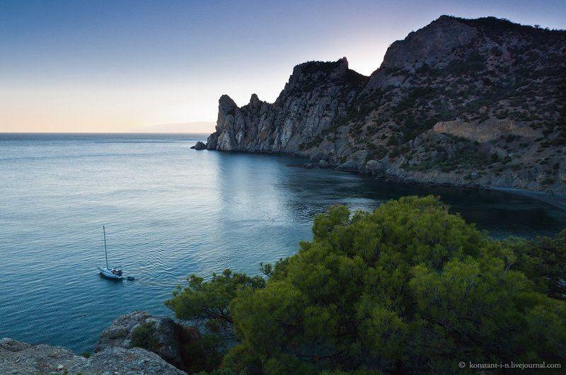 пейзаж, закат, вечер, море, горы, бухта, крым, новый свет Тихий вечер в Голубой бухтеphoto preview