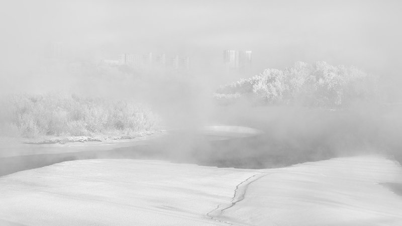 пейзаж, природа, чб, черно-белое, белый, светлый, зима, мороз, холод, лед, река, туман, иней, снег, город, красноярск, татышев, енисей, сибирь Январское оцепененьеphoto preview