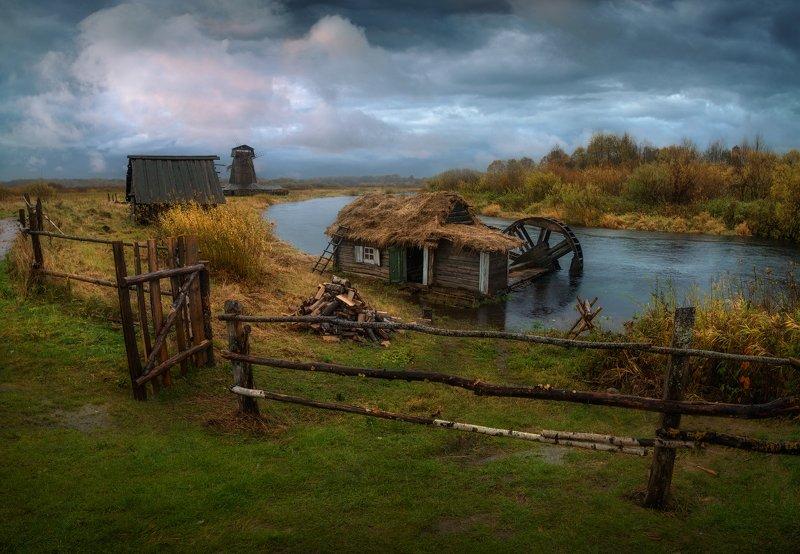 осень, река, мельница, россия, Где-то в безвременьиphoto preview