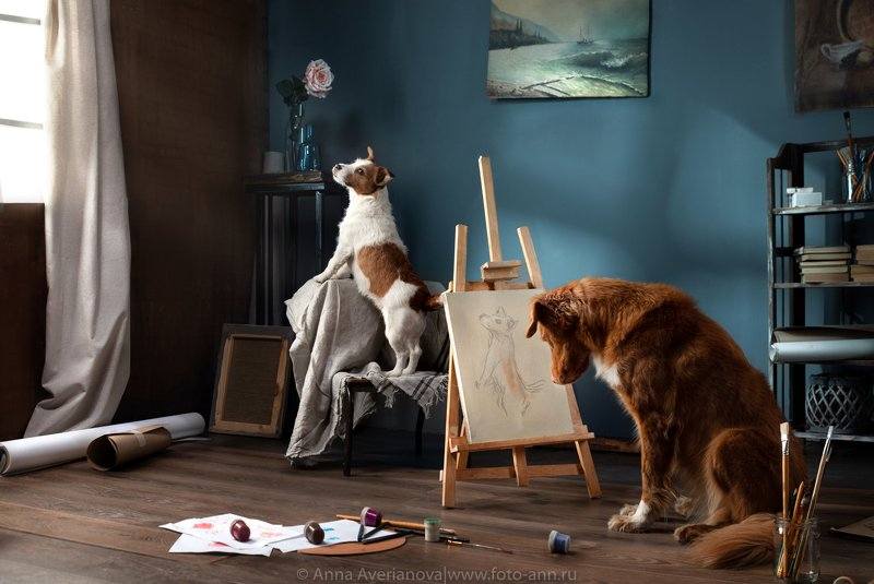 собака, художник Художник  его  музаphoto preview