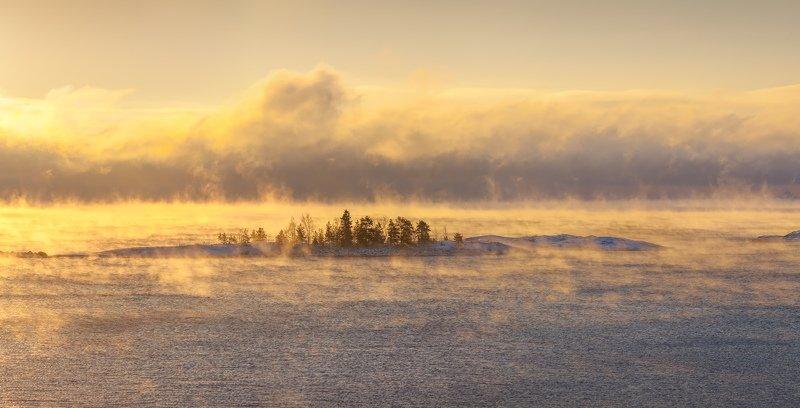 Ладожское озеро зимой, зимняя Ладога, шхеры, Карелия \