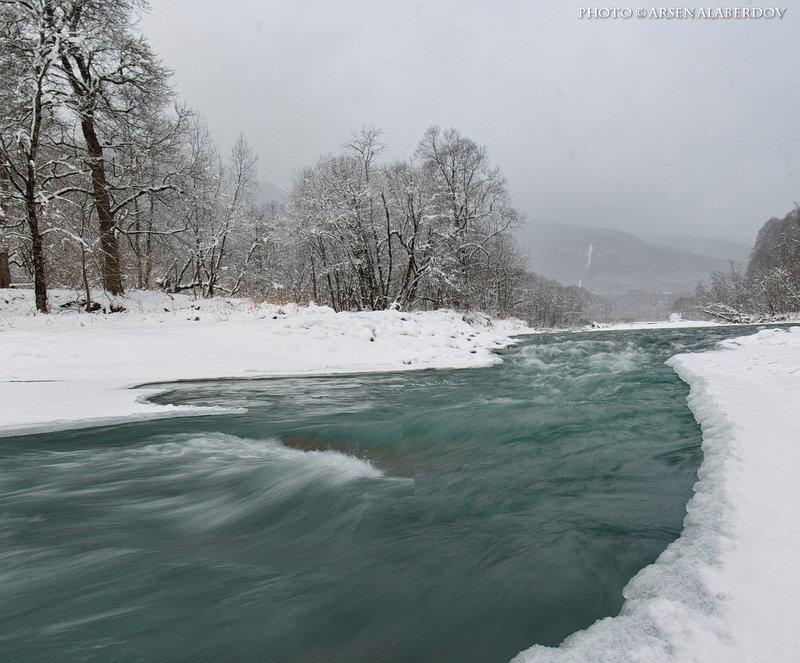 горы, река, холод, лёд, снег, зима, архыз, снег БЫЛА И ТАКАЯ ЗИМА..photo preview