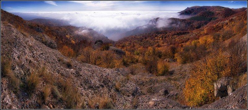 крым, демирджи, осень, туман, скалы, лес, панорама Крымская Осеньphoto preview