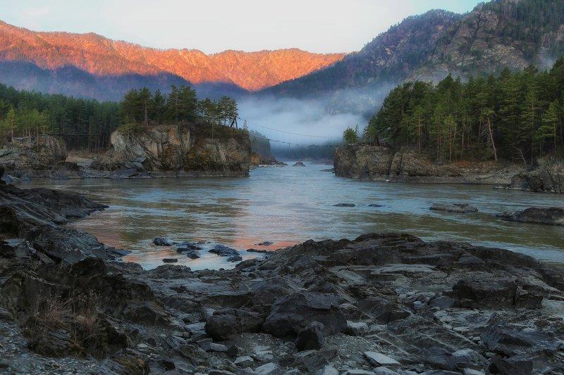 алтай, горный алтай, горы, сибирь, чемал, катунь Утро в Чемалеphoto preview
