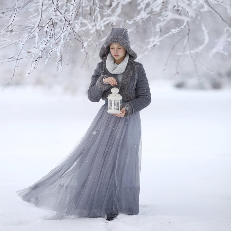 зима, метель, иней, девочка с фонарем, снег, зимняя история, зимняя сказка photo preview