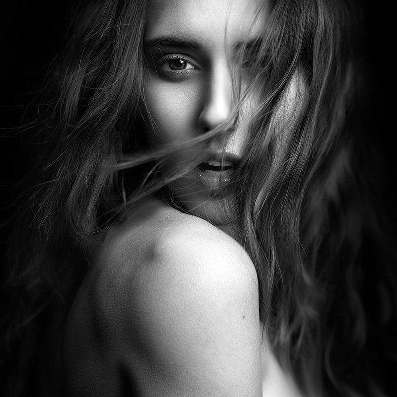 portrait, woman, model, studio, hair, wind, cold photo preview