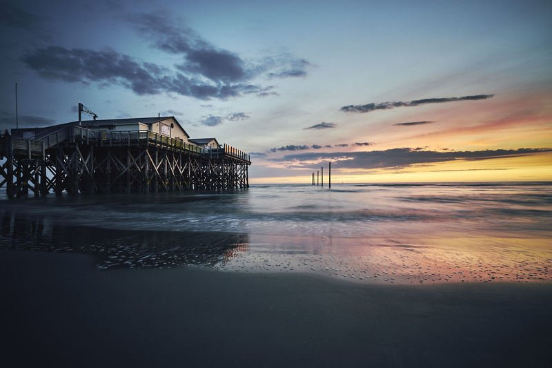seascape, water, northsea, sunset, house Sankt Peter Ordingphoto preview