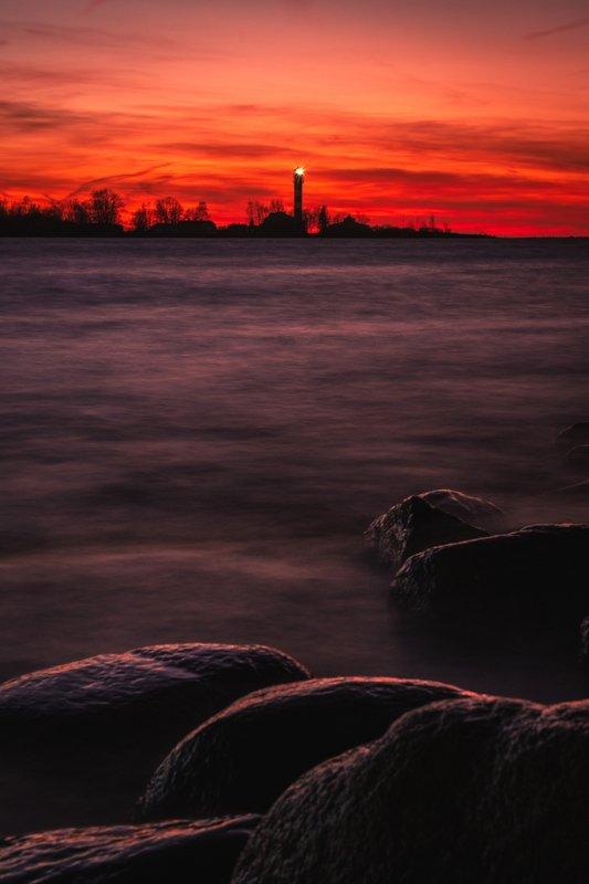 закат маяк вода пейзаж камни природа архитектура Маякphoto preview