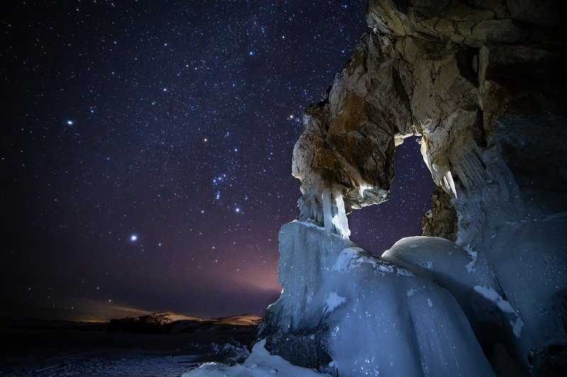 байкал, огой, ольхон, лед, зима, озеро Ночь на Байкалеphoto preview