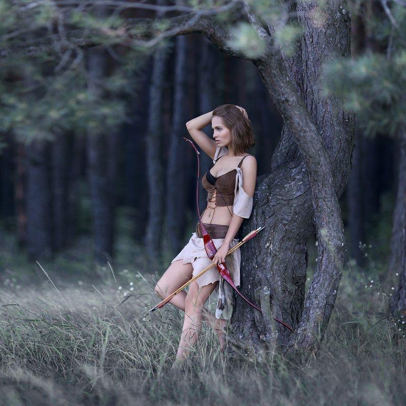 амазонка, охотница, дикарка, лук, стрелы, девушка с луком, воительница photo preview