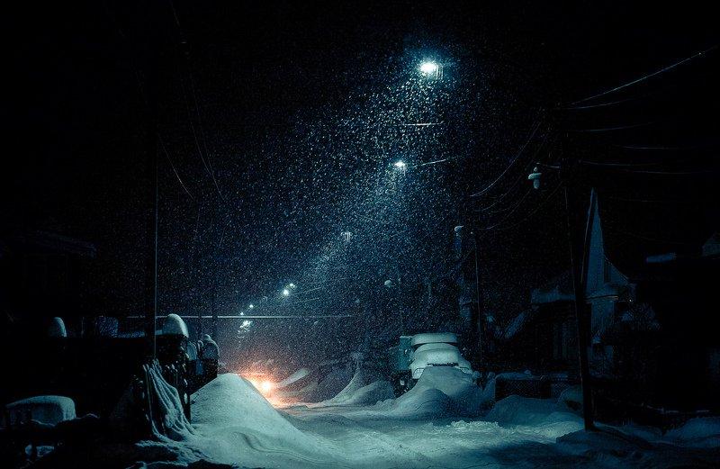 вечер, улица, фонарь, снегопад, дорога Вечерний снегопадphoto preview