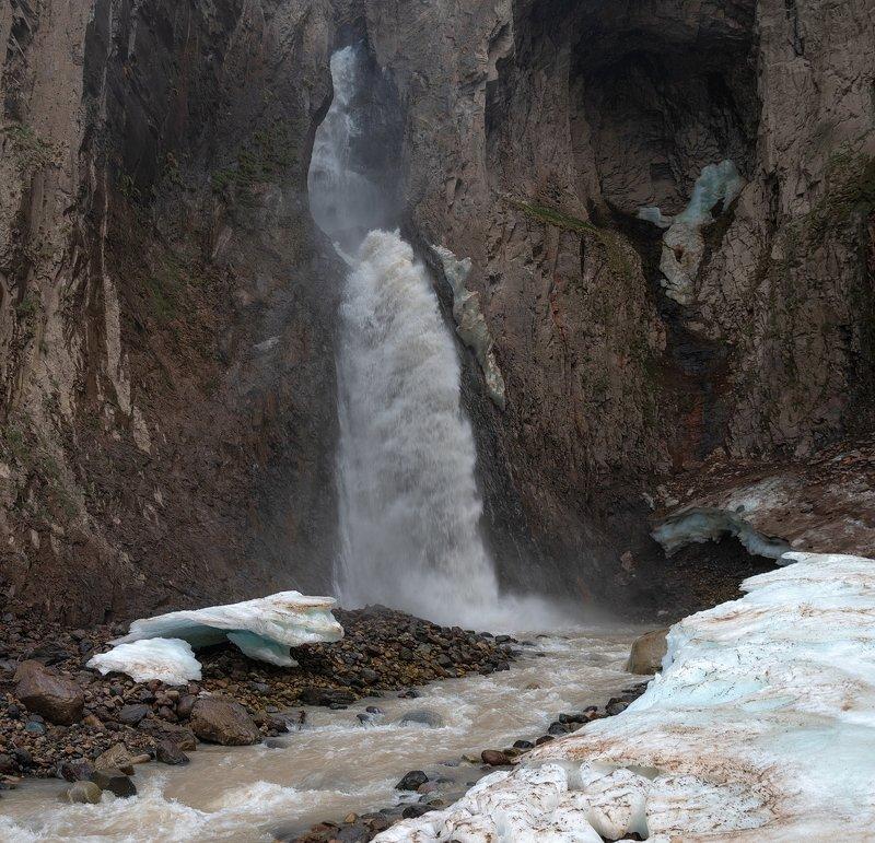 водопад, скала, лед, пороги, обрыв, горы, река, поток, горная река, джилы су ВОДОПАД КАРАКАЯ СУphoto preview