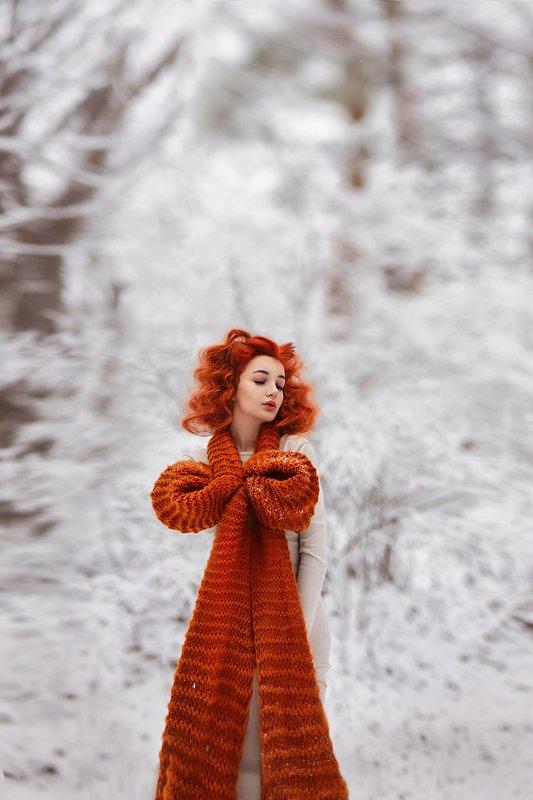 желание,шарф,зима,вязанный шарф,холод,мороз,девушка,портрет Желанноеphoto preview