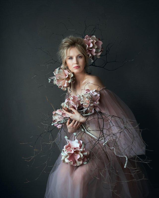 портрет, женщина, цветы, photo preview