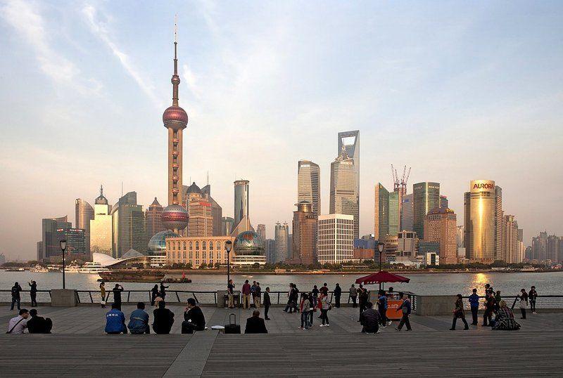 китай, шанхай, закат, набережная, бунд, вайтань ***photo preview