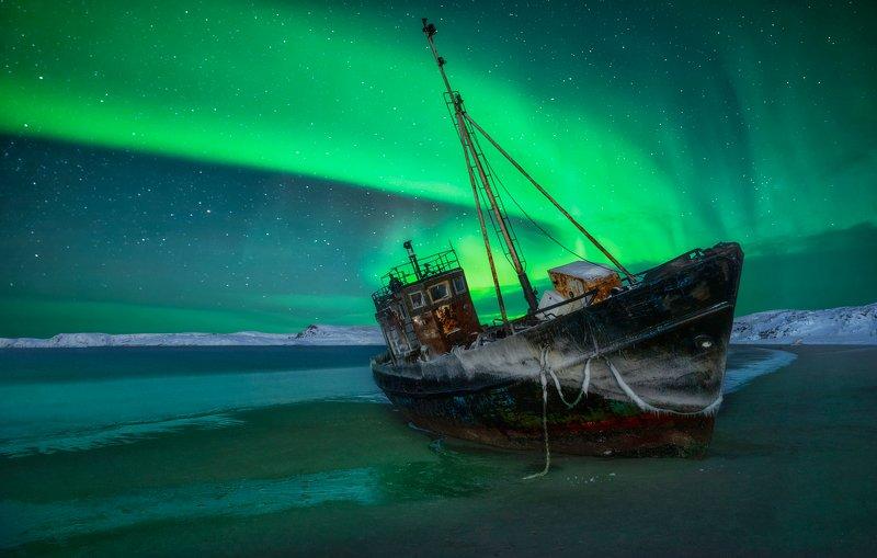 aurora borealis,  северное сияние, териберка, teriberka После штормаphoto preview