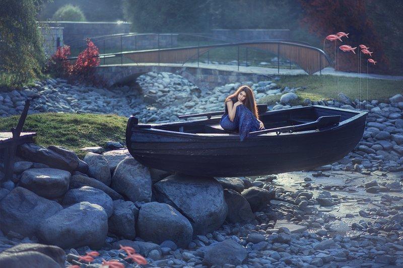 fine art, mermaid, woman, fantasy, boat, sun light, blue, портрет, русалка, девушка, лодка, камни, солнечное утро, фантазия Mermaidphoto preview