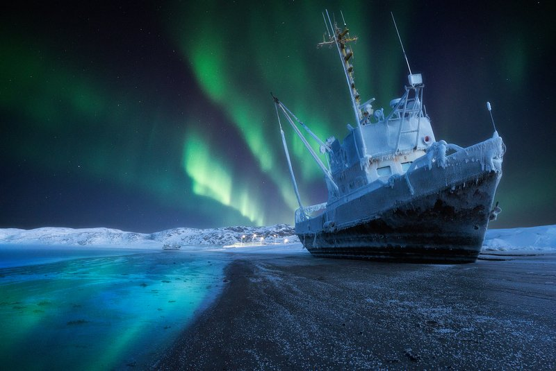aurora borealis,  северное сияние, териберка, teriberka Last harbourphoto preview