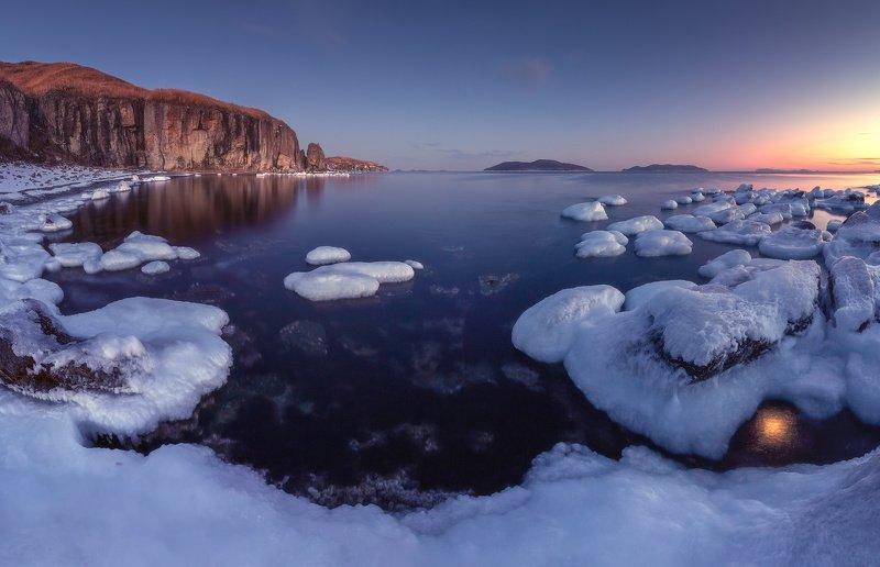 вечер, море, скалы, лёд ***photo preview