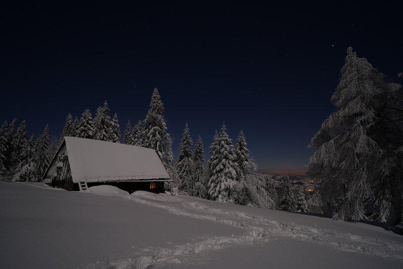 mist,mountains,hut,sunrise,tree,cold,frozen,snow HutHphoto preview