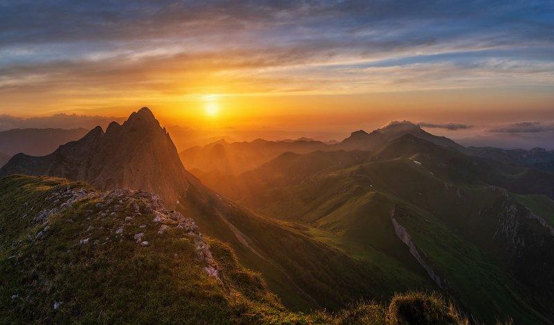 закат, большой тхач, малый тхач, асбестная, горы, пейзаж, рассвет, кавказ, адыгея, ачешбоки На закатеphoto preview