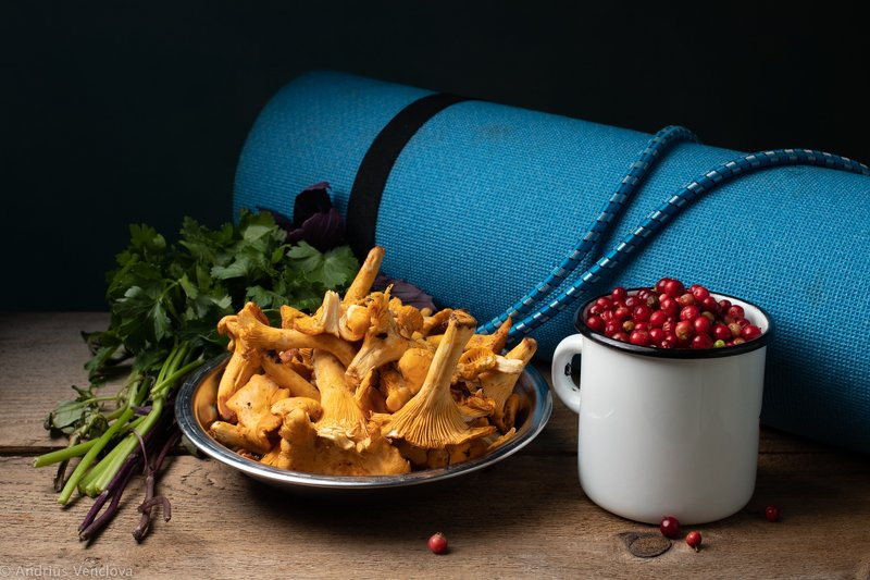 Chanterelle and lingonberryphoto preview