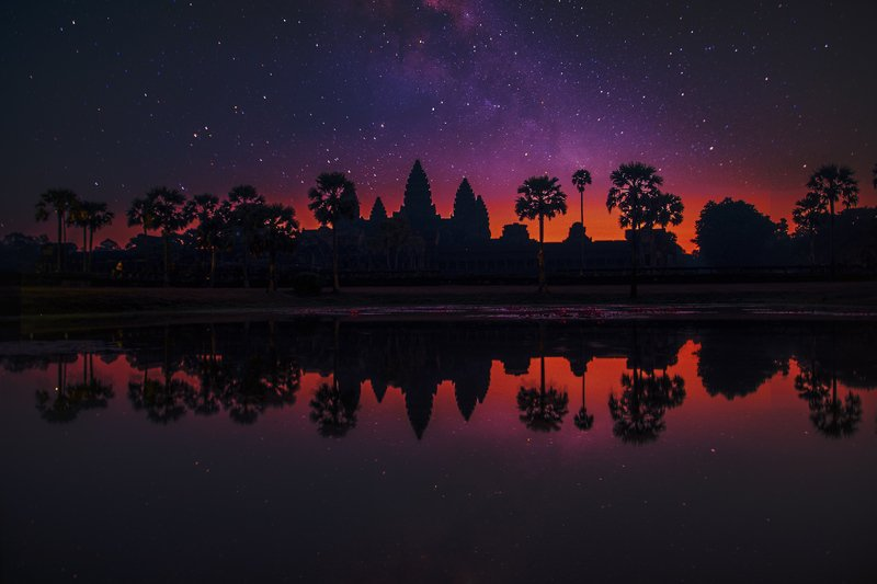cambodia, siem reap, dusk, log exposure, temple, night, stars, reflection, silhouette Восточные сказкиphoto preview