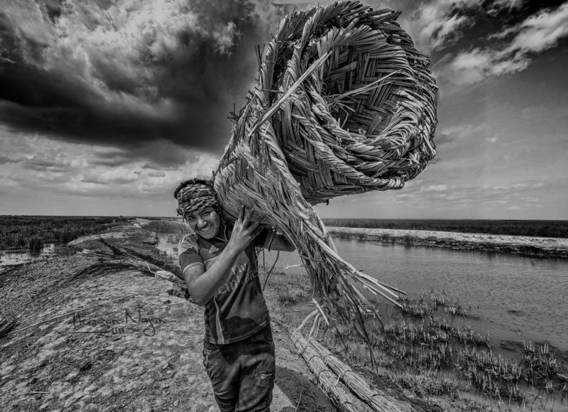 Marshes,Southern Iraq,Boy,cane,Water.sky,black and white Marsh boyphoto preview