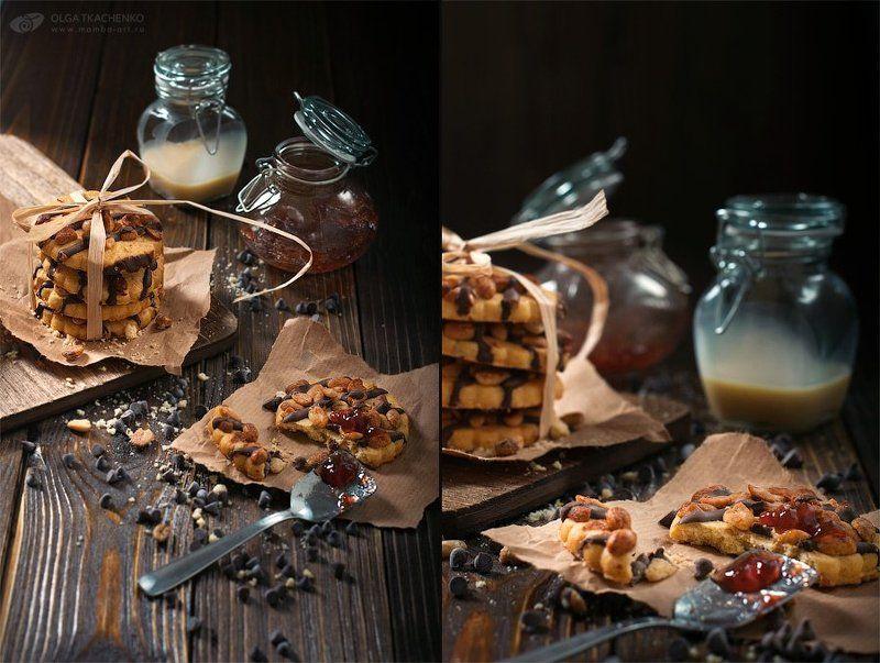 диптих, триптих, фуд-фото, печенье, сгущенка, варенье, досточка, дерево, банки, стекло, бумага, ложка, шоколад, арахис Peanut cookiesphoto preview