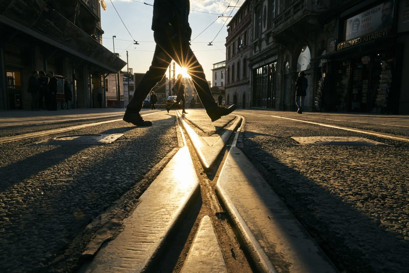 sun, sunset, istanbul, turkey, city, urban, people, street crossing the streetphoto preview
