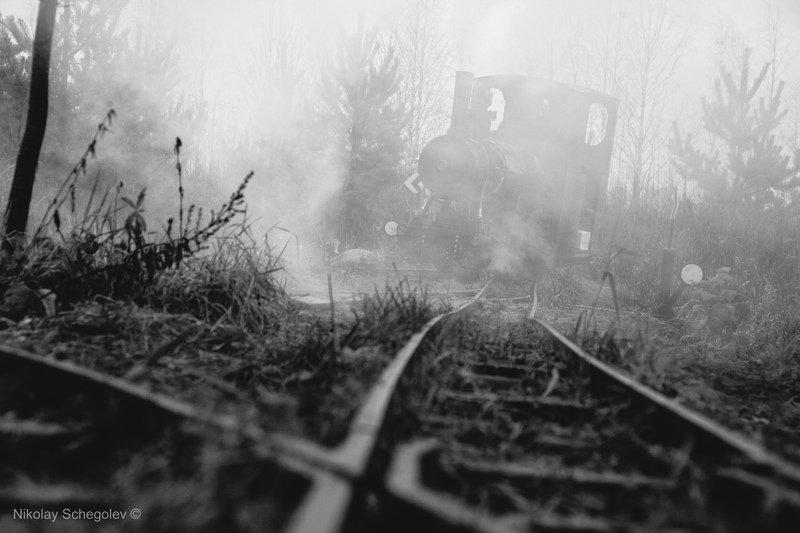 паровоз, туман, чб, самоделка Самодельный паровоз в туманеphoto preview