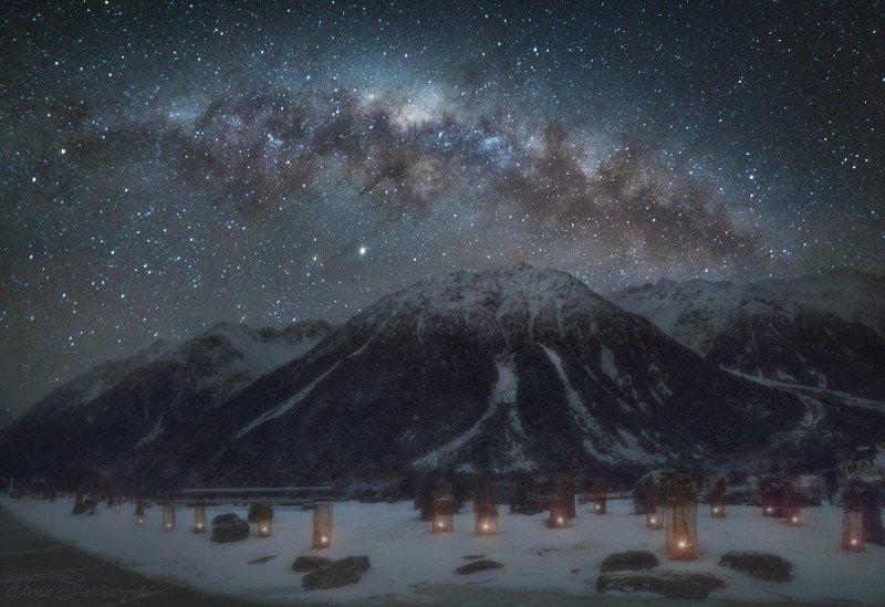пейзаж,ночь,природа,горы,новая зеландия,фототур,ночной пейзаж,звезды,млечный путь Огни Тасманаphoto preview