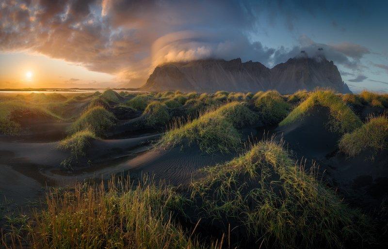 исландия, стокснес, вестрахорн Вечер на дюнахphoto preview