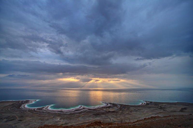 мертвое, море, небо, пейзаж, соль, dead sea, рассвет, yām ha-melaḥ Пасмурный рассветphoto preview