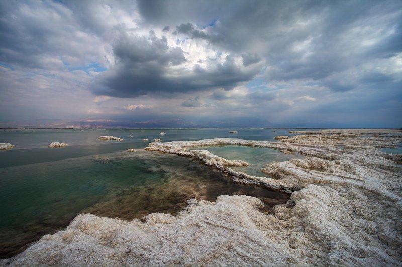мертвое, море, небо, пейзаж соль, dead sea, yām ha-melaḥ Переменная облачностьphoto preview