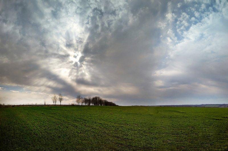 весна,март,небо,облака,пейзаж,поле,landscape,sky Мартphoto preview
