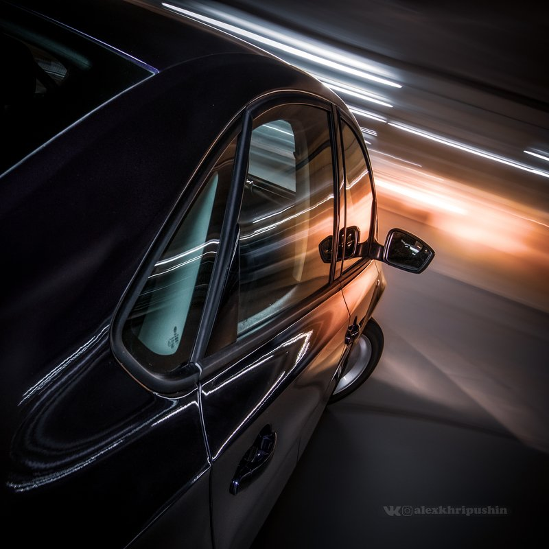 car automotive driving movement longexposure motion lights Flying in the parkingphoto preview
