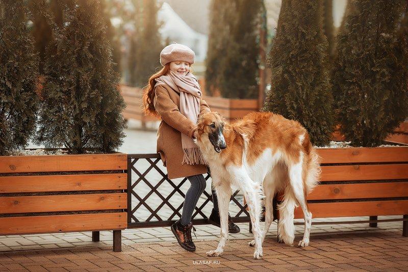 art photo, glamour, портрет, зима, winter, ребенок, дети, девочка, girl, животное, собака, борзая, dog, радость, people, малыш, друзья, happy, любовь, love, 105mm, kid, children, beautiful, puppy, щенок ***photo preview