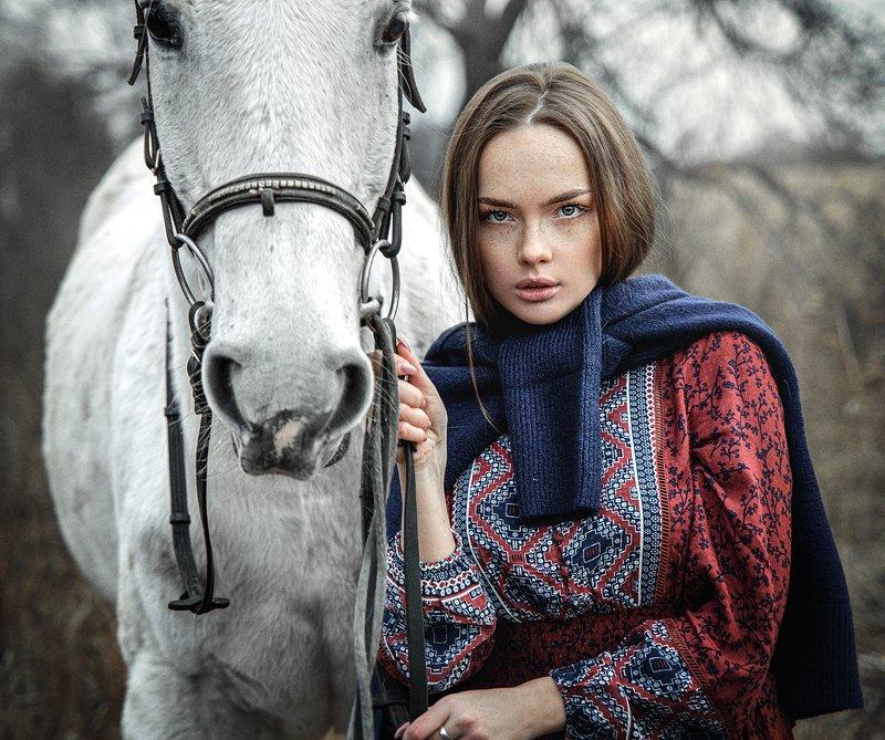 девушка, лошадь, природа  фото превью