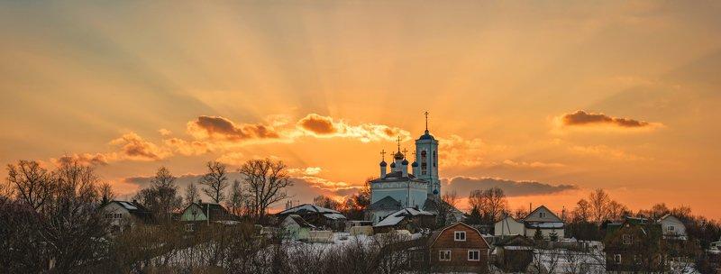 средняя, полоса, россии, закат, весна, село Старая Слобода.photo preview