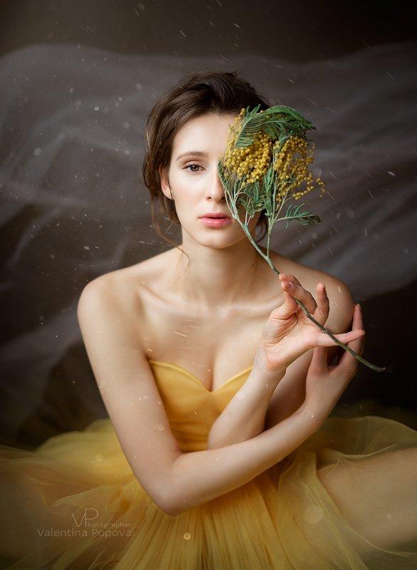 женщина, портрет, мимоза, весна Мимозаphoto preview