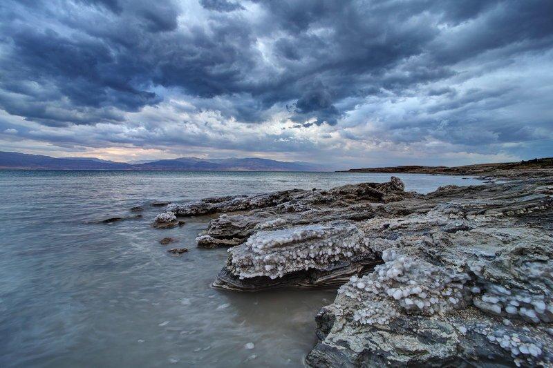 мертвое, море, небо, пейзаж, соль, dead sea, yām ha-melaḥ Вечерние контрастыphoto preview