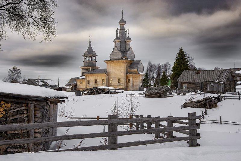 архангельская обасть, закат, зима, мороз, русский север, северные деревни Кимжаphoto preview