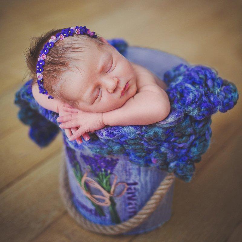 новорожденная, ньюборн, девочка, лаванда Мияphoto preview